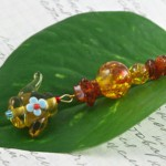 Amber Tea bookmark, leaf, md