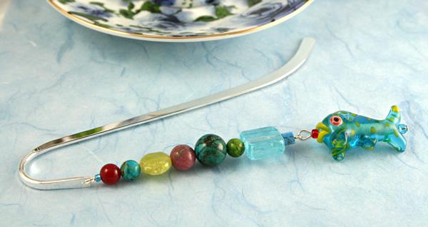 Sea Jewels bookmark, blue bg, md