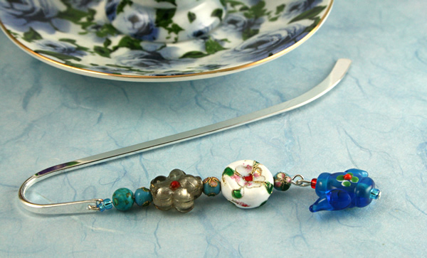 Teapot Flowers bookmark, blue bg, md