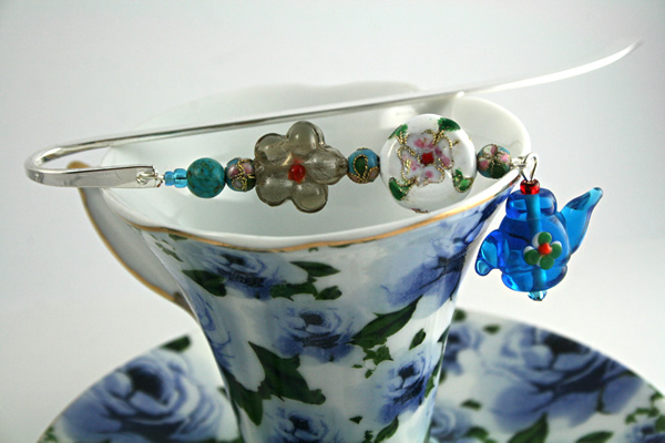 Teapot Flowers bookmark, cup, md