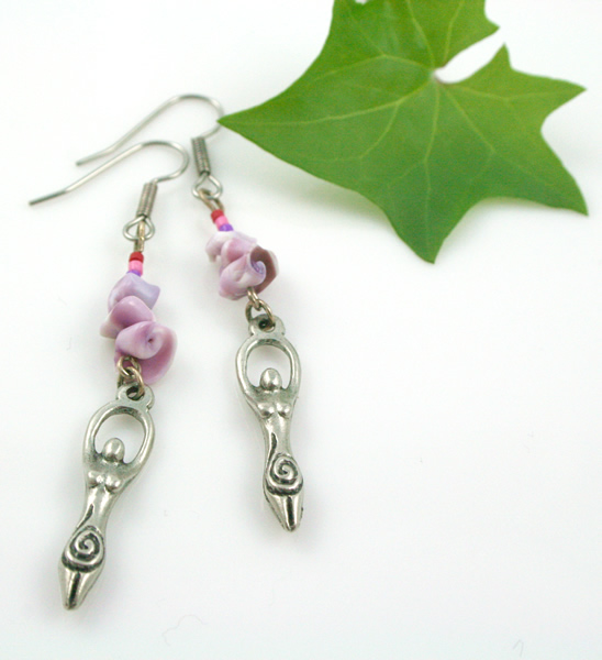 Birth goddess rose earrings, leaf, md