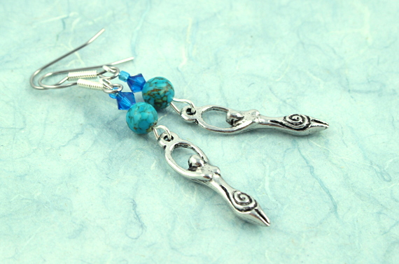 Birth goddess turquoise blue earrings, take 2, md
