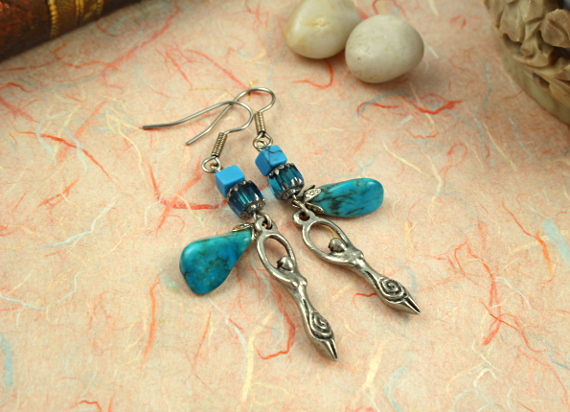 Birth goddess turquoise drop earrings, md