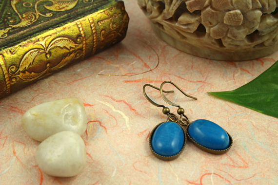 Blue howlite brass earrings, md