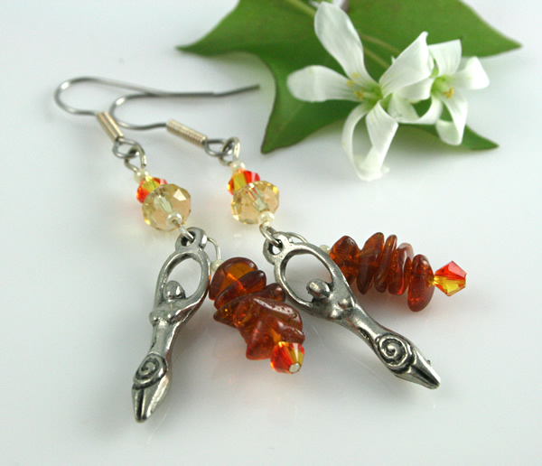 Fire opal birth goddess earrings, shamrock, md