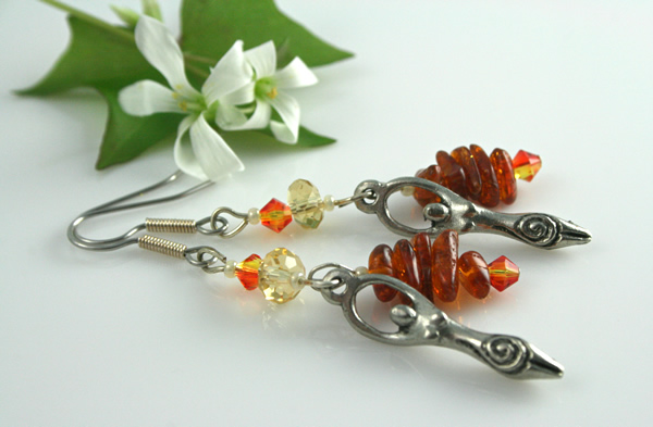 Fire opal birth goddess earrings, side, md