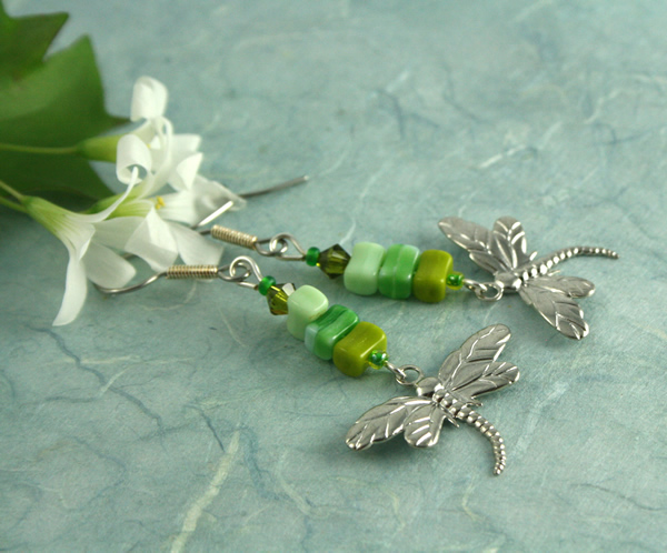 Green dragonfly earrings, side, md