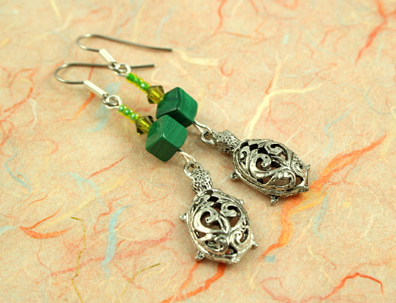 Malachite turtle earrings, take 2, md