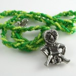 Spring Green Sheela-na-gig necklace, md