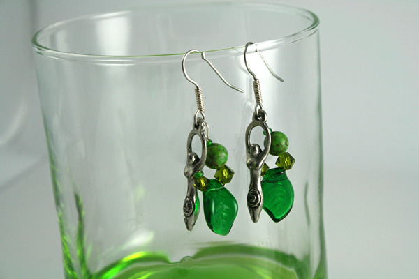 Spring birth goddess earrings, glass, md