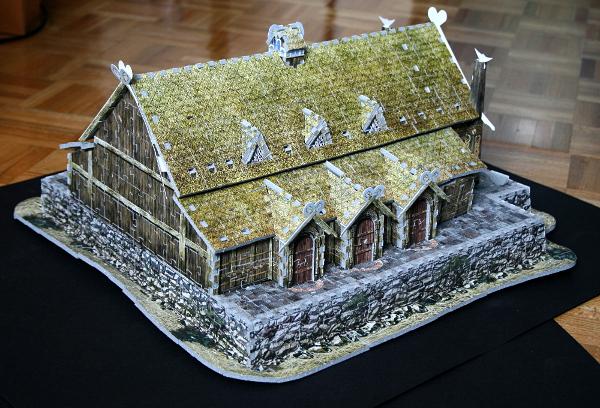 Golden Hall, Edoras, LotR, assembled back side, med