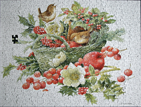 Christmas bird evergreen basket, med