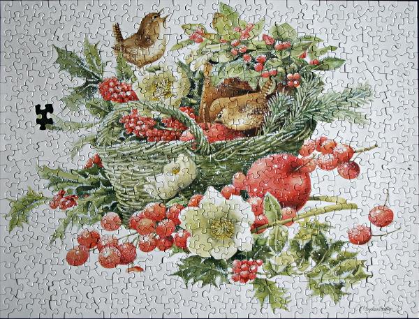 Christmas bird evergreen basket, med