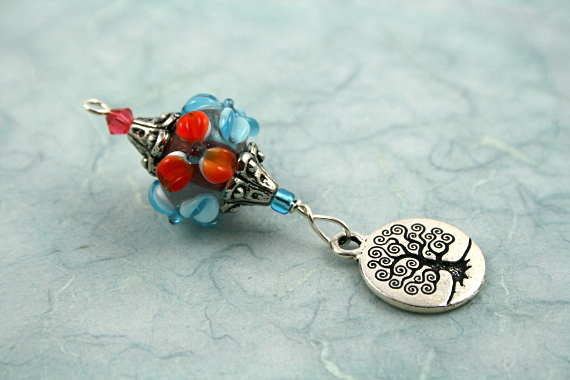 Blessingway bead - Blooms and tree of life, blue, md