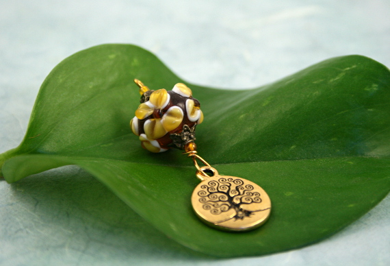 Blessingway bead earth and tree of life, med