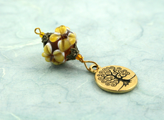Blessingway bead earth and tree of life on blue, med