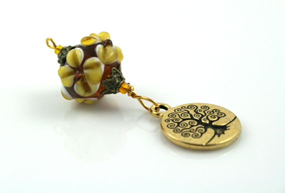 Blessingway bead earth and tree of life reflection, med