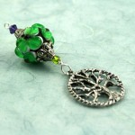 Blessingway bead emerald tree of life on blue, med