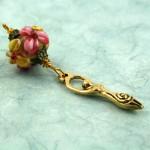 Blessingway bead faery garden goddess on blue, med