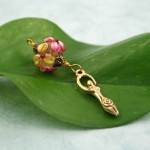 Blessingway bead faery garden goddess on leaf, med