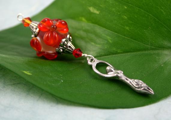 Blessingway bead red flame goddess, med