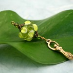 Blessingway bead young leaf goddess on a leaf, med