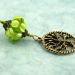 Blessingway bead young leaf tree of life on blue, med