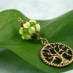 Blessingway bead young leaf tree of life on leaf, med