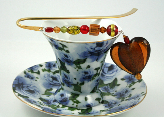Bookmark amber earth heart cup, med