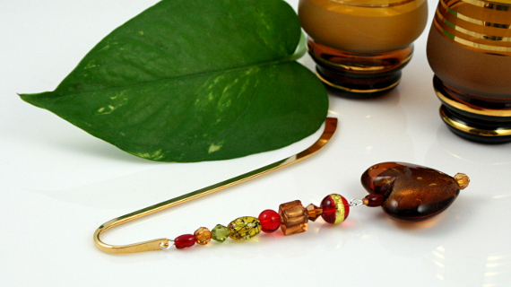 Bookmark amber earth heart glasses, med