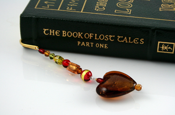 Bookmark amber earth heart, med