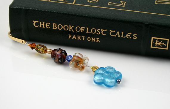 Bookmark blue flower and golden butterflies book, med