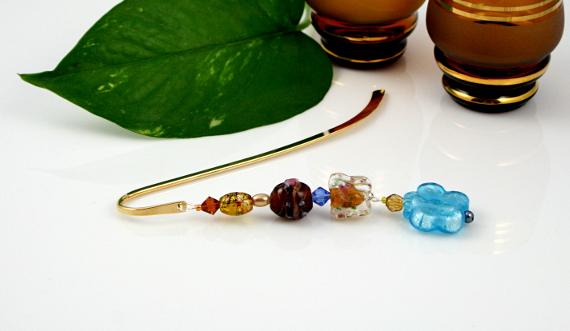 Bookmark blue flower and golden butterflies leaf, med