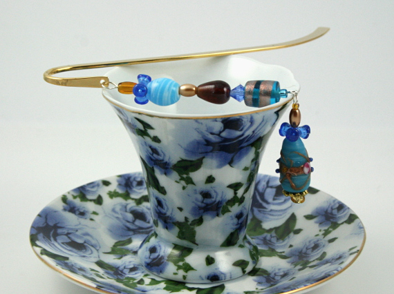 Bookmark blue gold bow fantasy cup, med