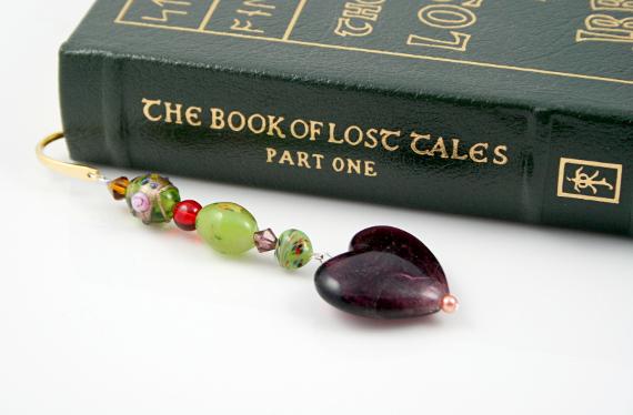 Bookmark carnival plumage purple heart book, med