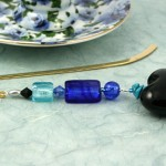 Bookmark deep blue black heart, blue, med