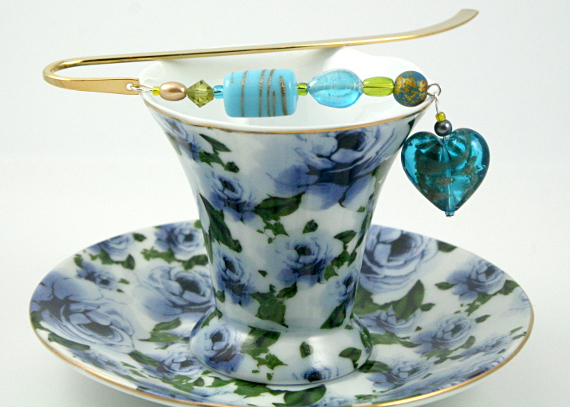 Bookmark golden blue heart, cup, med