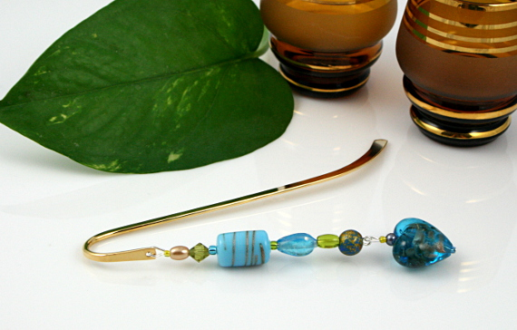 Bookmark golden blue heart, med