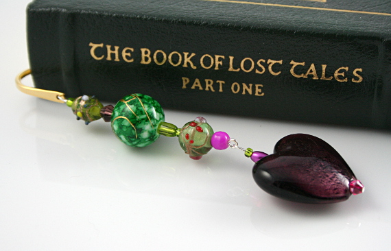 Bookmark purple heart green lantern book, med