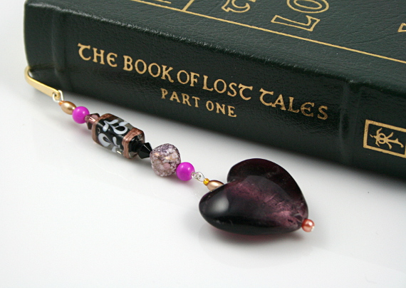 Bookmark purple heart swirls, book, med