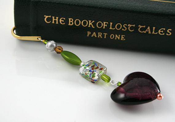 Bookmark purple watercolour heart book, med