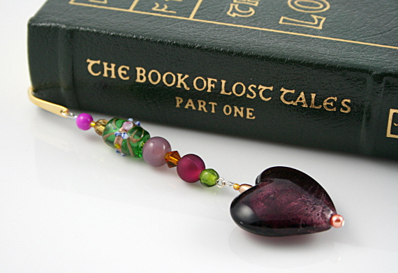 Bookmark royal purple heart book, med