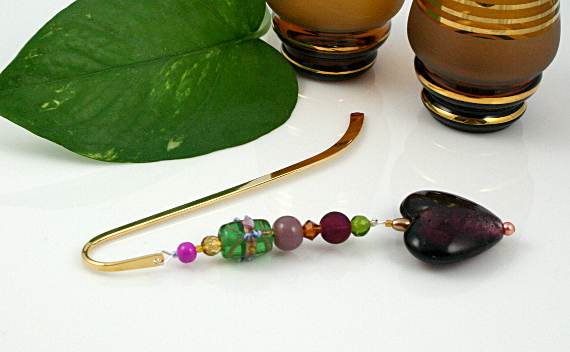 Bookmark royal purple heart leaf, med