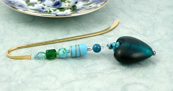 Bookmark seaside heart fantasy blue, med