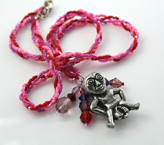 Rose and lilac Sheela Na Gig necklace with charms, white knot, md