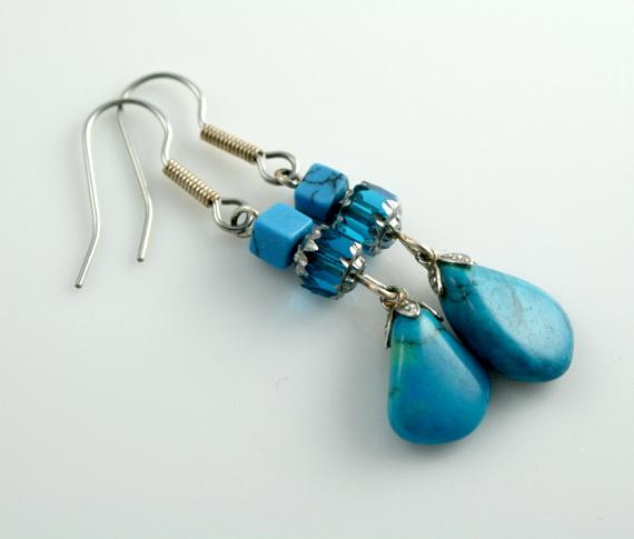 Summer sea turquoise drops earrings diag, med