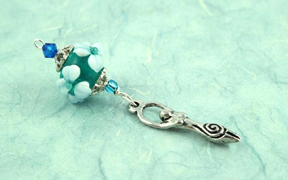Blessingway bead - Moonlit pond goddess, peach, md