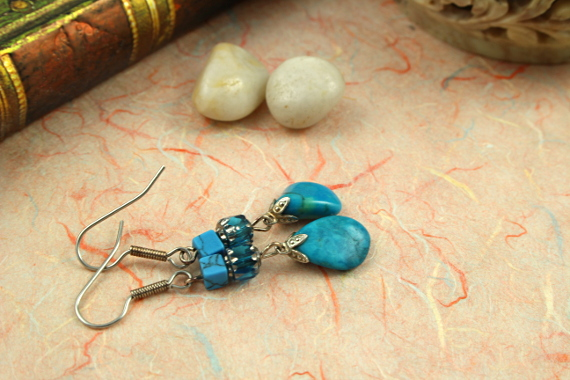Summer sea turquoise drop earrings, book, md