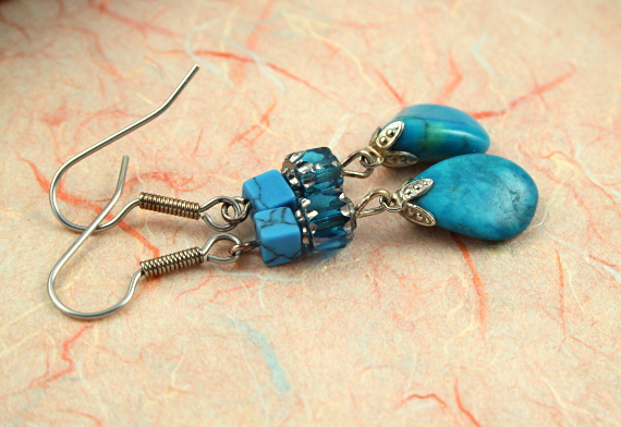 Summer sea turquoise drop earrings, md