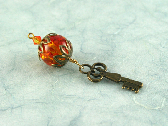 Blessingway bead - Fire and amber key, earth, blue, md